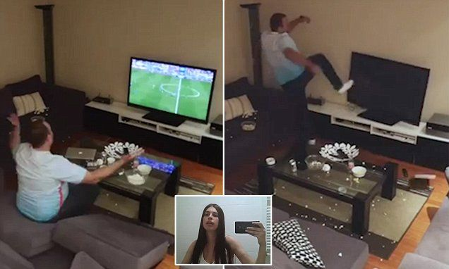 Football fan smashes tv after girlfriend turns it on and off in prank