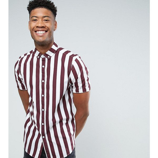 ASOS TALL Regular Fit Stripe Shirt In Burgundy ($17) ❤ liked on Polyvore  featuring