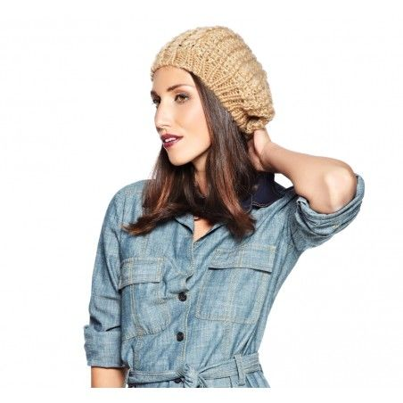 Large Lurex Knit Beanie