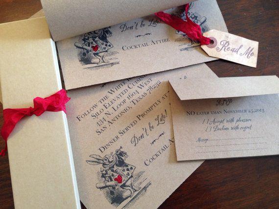 alice in wonderland wedding invitation scroll by pinkcherrymama - Alice In Wonderland Wedding Invitations