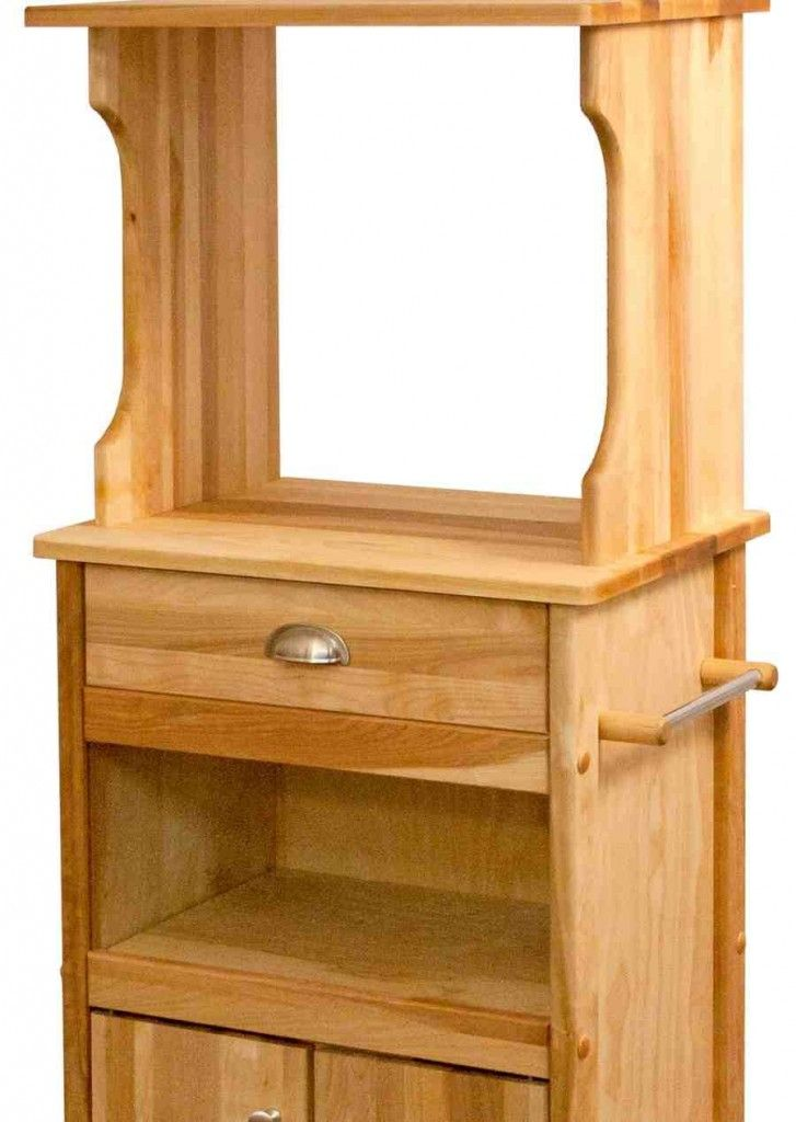 Microwave Cabinet With Storage Natural Wood Kitchen Microwave Cart Open Storage