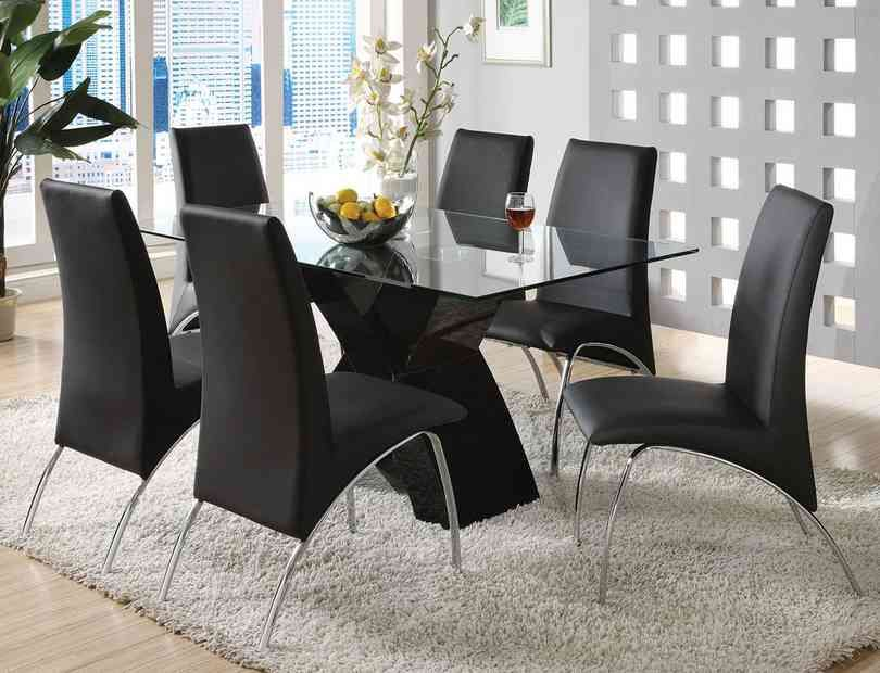 ... Furniture :: Small Dinette Sets :: Metal And Glass Sets :: 7 Pc. Wailoa  Contemporary Style Glass Table Top And Black Finish X Shaped Base Dining Set