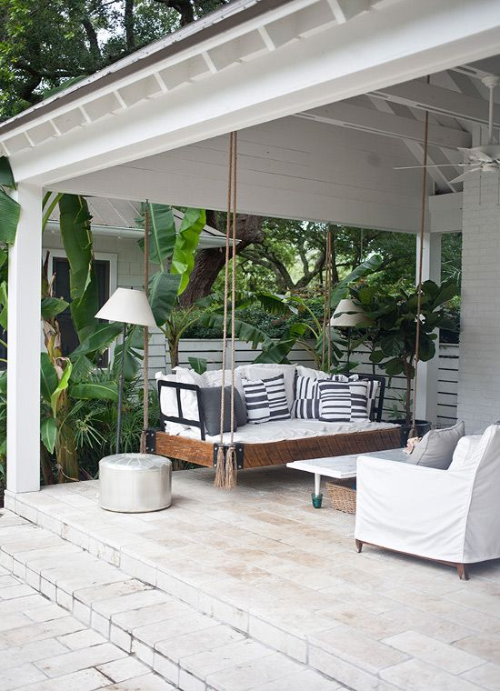 Outdoor Porch with Swing   wwwfabulishlivingblogspotca