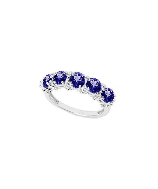 Purple Topaz & Sterling Silver Round-Cut Ring