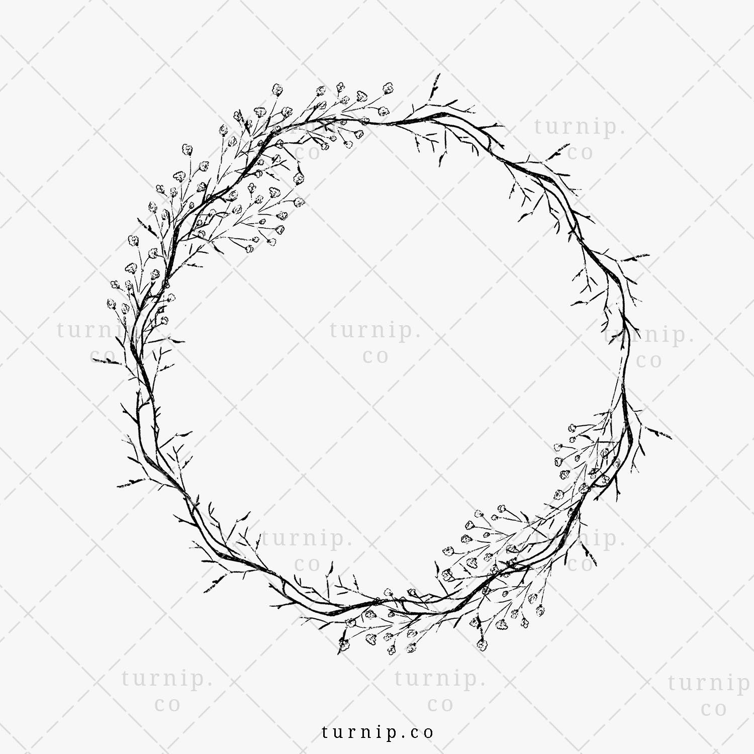 Baby S Breath Wreath Png Download Black And White Floral Etsy Babys Breath Wreath Leaf Border Clip Art Borders