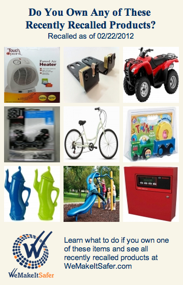 Recently recalled products, including ATVs, heaters