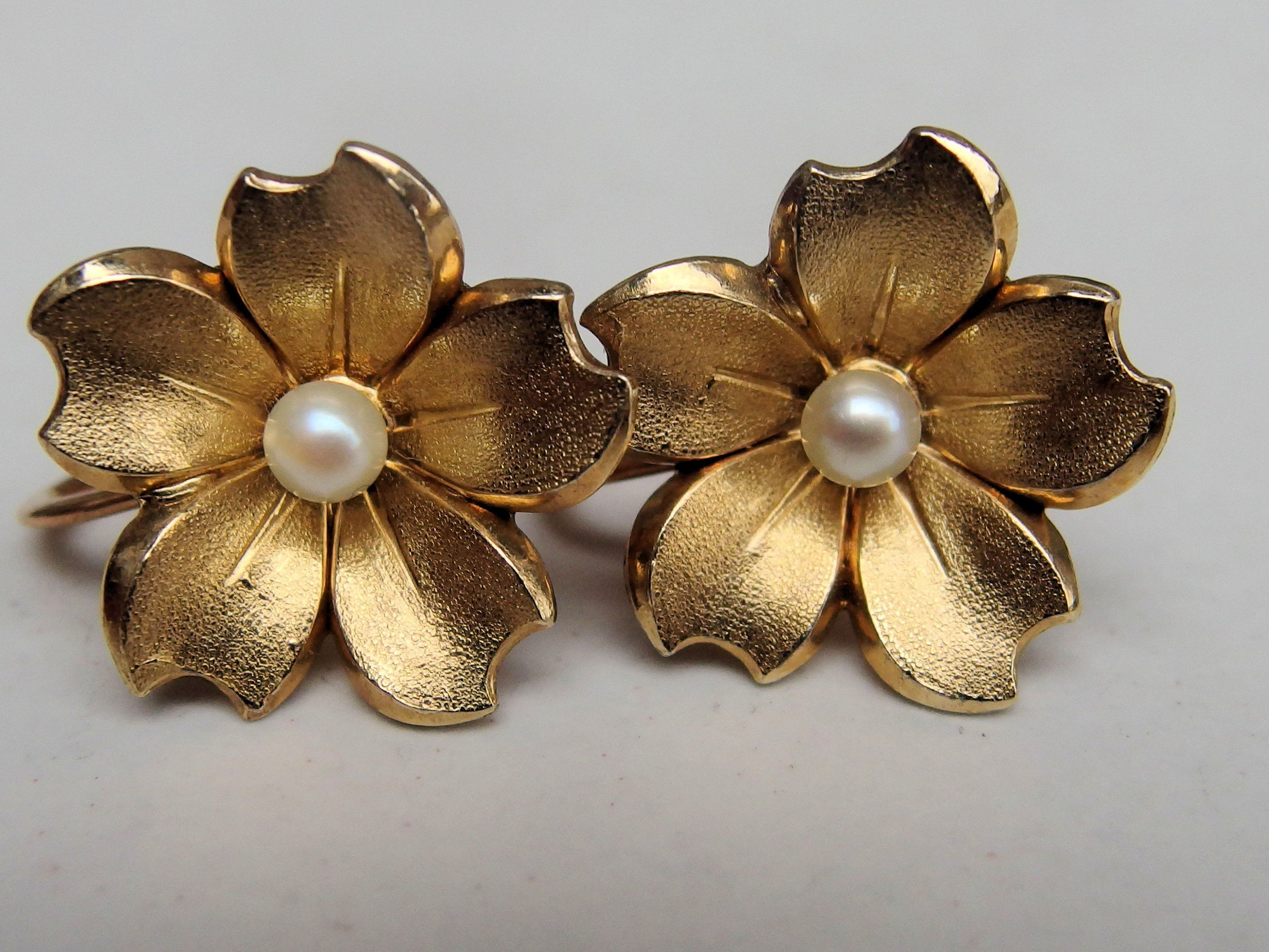 Lovely Shell Shaped Brooch with Matching Earrings