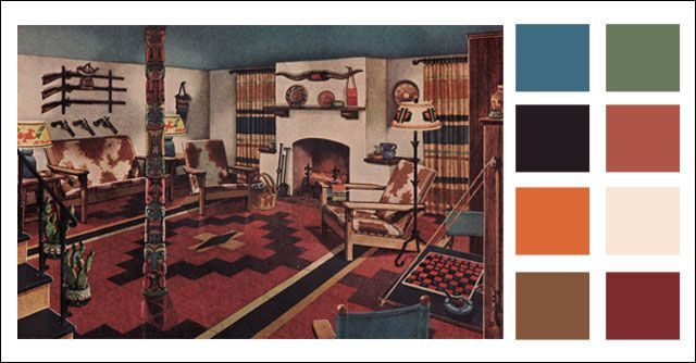 1945 Armstrong Man Cave - Mid-century Basement Color Scheme - Teal blue,  browns