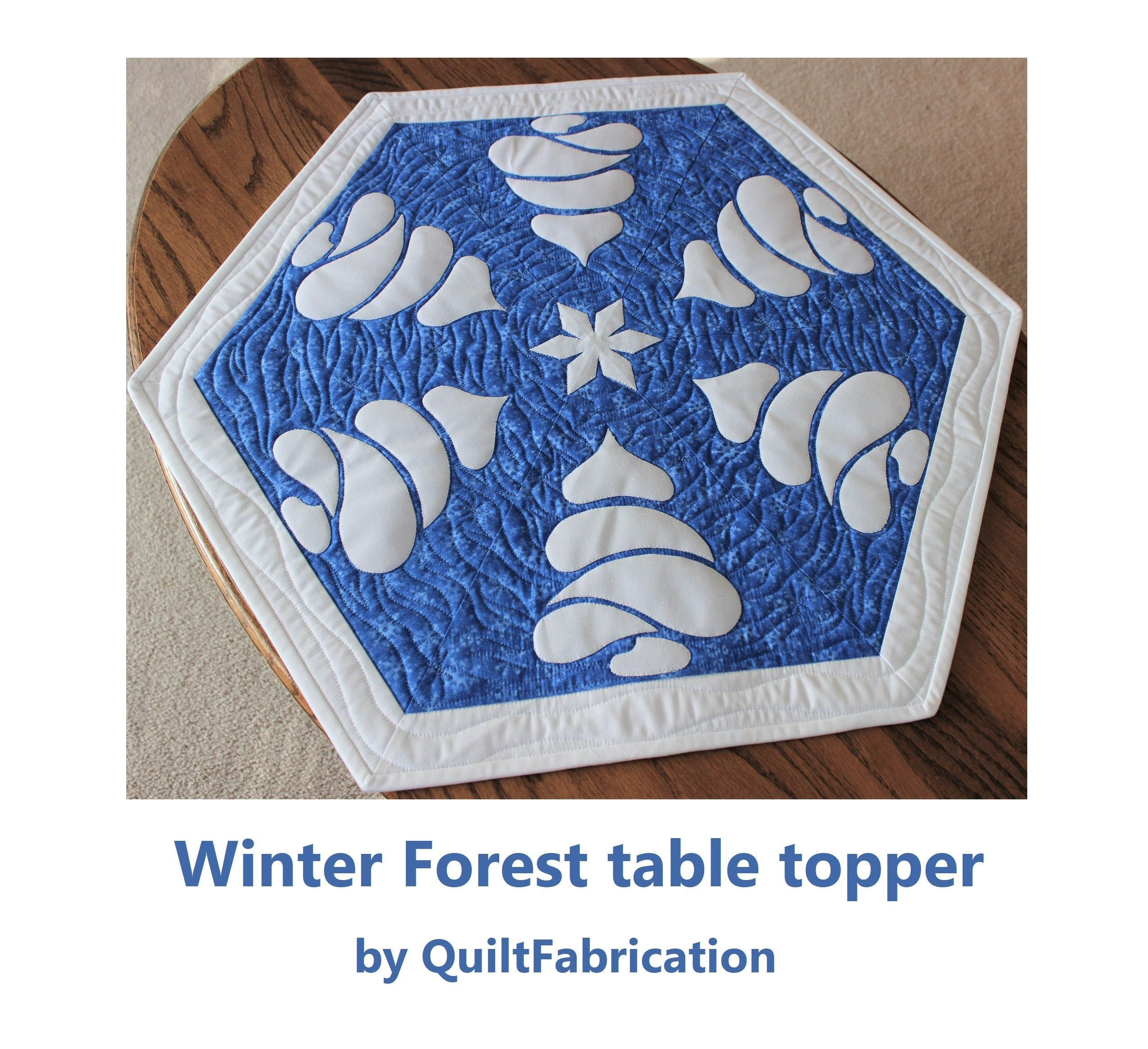 Winter Forest Table Topper Quilt Pattern Beginner Pattern Snow Trees Snowflake Blue Winter Decoration Table Decor Centerpiece  Winter Forest Table Topper Quilt Pattern Be...