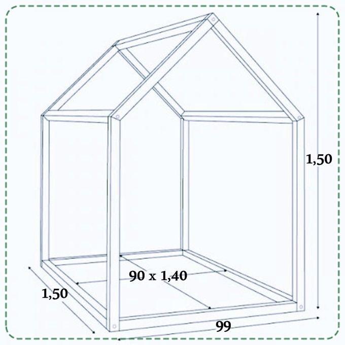 Cama casita infantil cuna m todo montessori 90 x1 40 - Medidas cama 90 ...