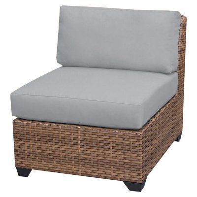 TK Classics Laguna Outdoor Middle Chair - Set of 2 Chairs with 4 Sets of Cushion Covers Gray / Wheat - TKC025B-AS-DB-GREY