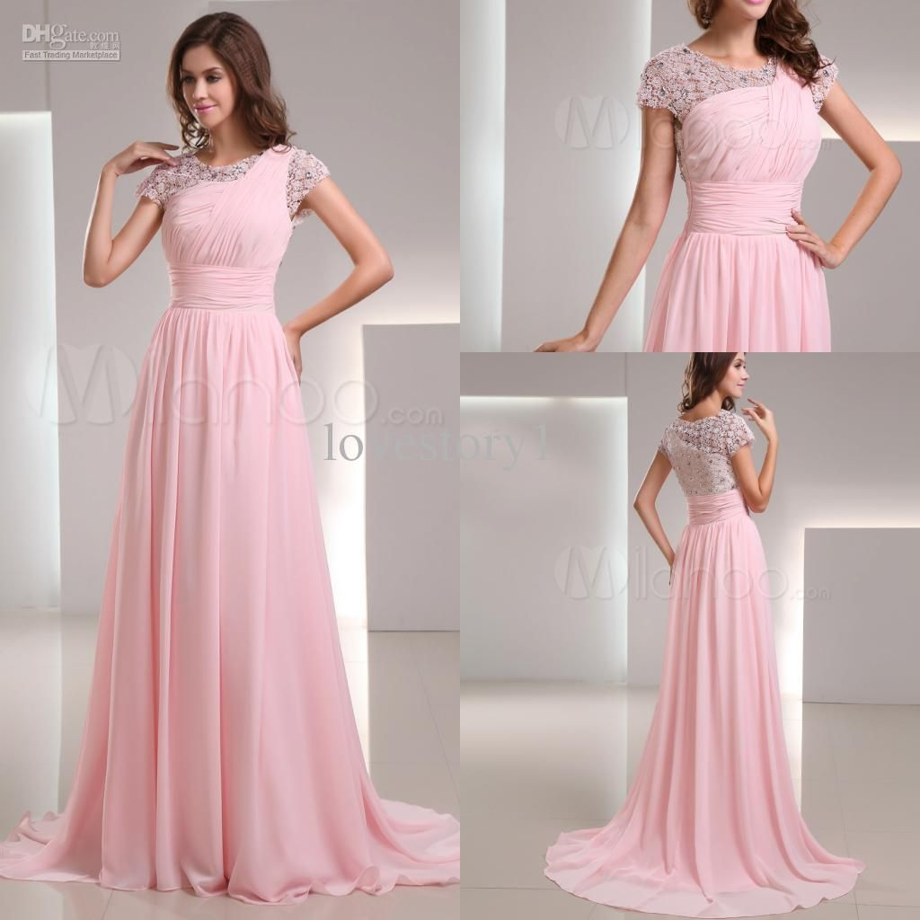 Gorgeous crew light pink crystal lace short sleeve long formal