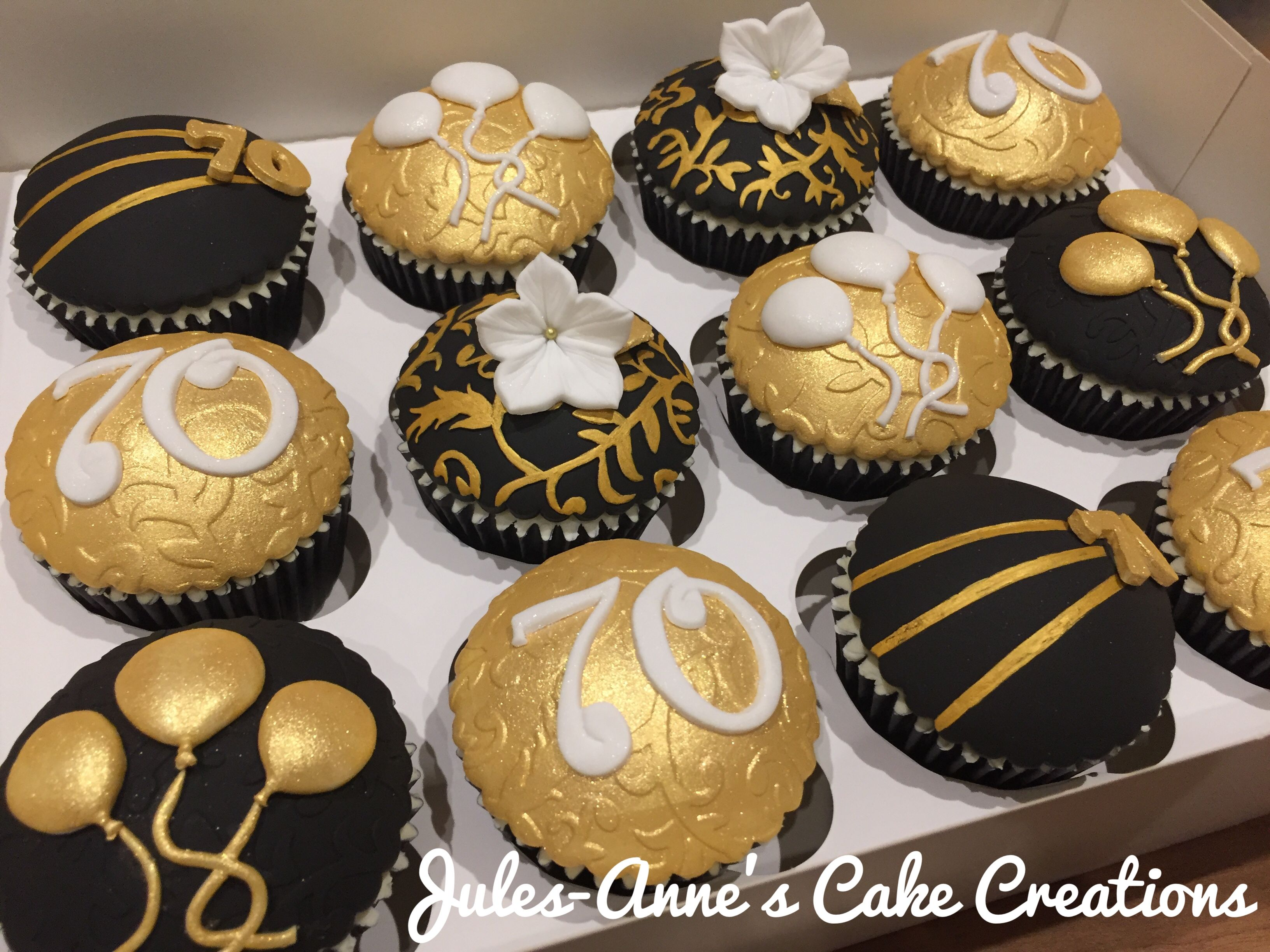 Black Gold With A Touch Of White 70th Birthday Cupcakes By