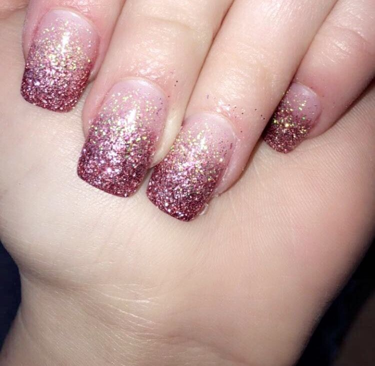 Blush Pink To Dark Pink Ombre Glitter Acrylic Nails Black Nails With Glitter Ombre Nails Glitter Pink Acrylic Nails