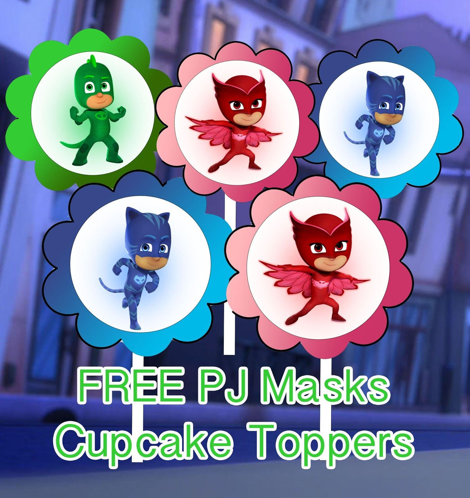 graphic regarding Pj Mask Printable titled PJ Masks Birthday Celebration Printable Data files Cupcake Toppers