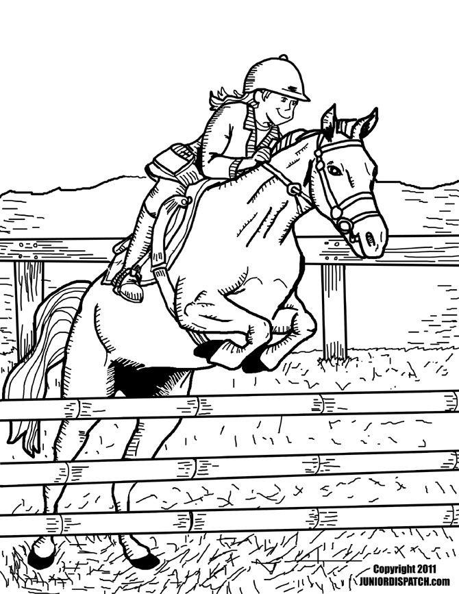 Kleurplaten Paard En Ruiter.Kleurplaat Springpaard Met Ruiter Coloring Pages Horses