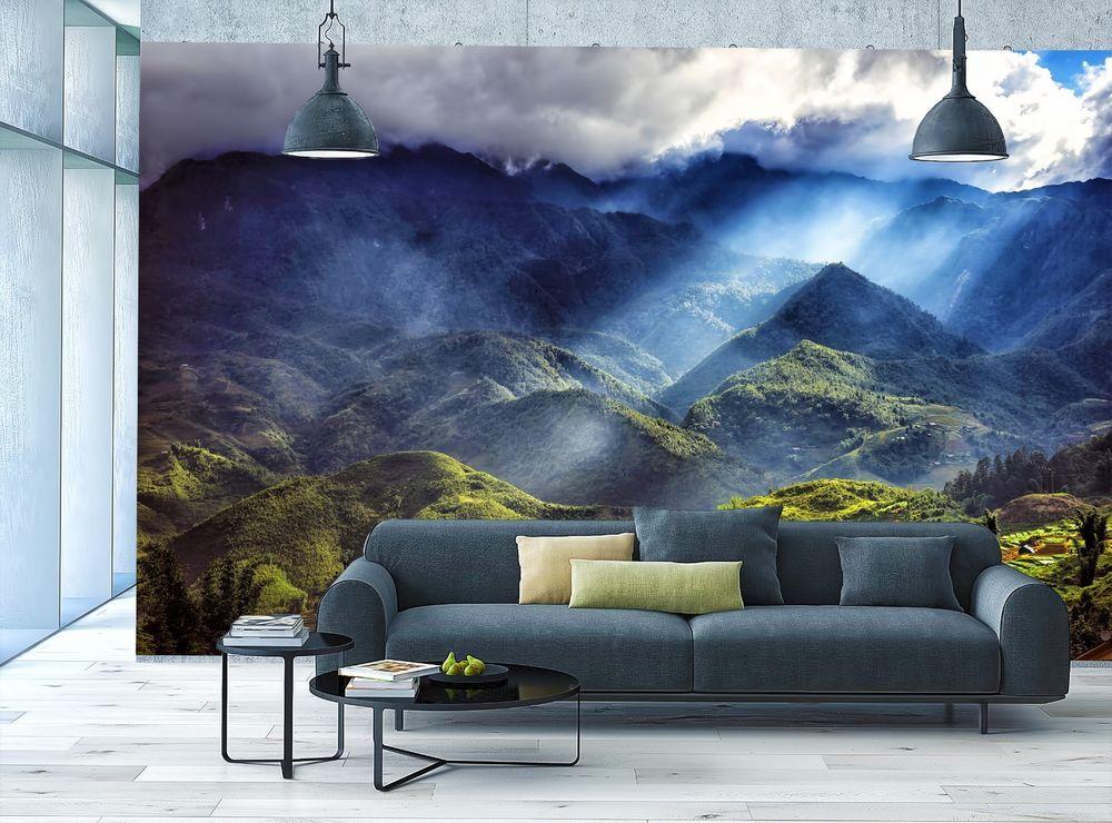 Mountains Wallpaper MURAL Room Art Clouds Relaxing Wall