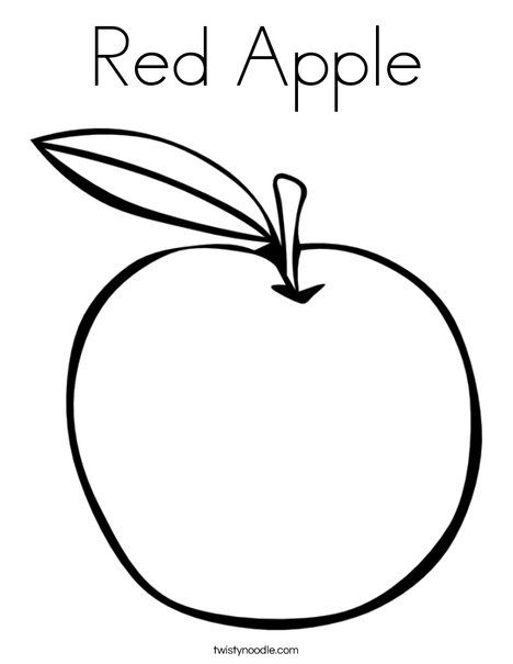 Red Apple Coloring Page Twisty Noodle Apple Coloring Pages