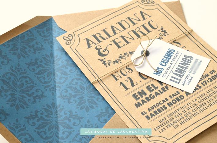 de boda invitacin en kraft sobre y etiqueta