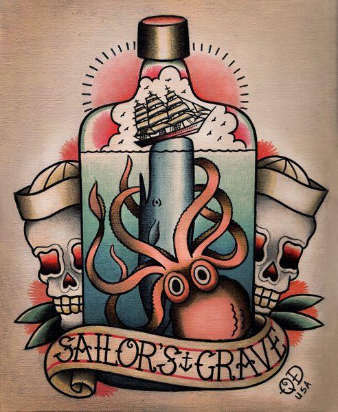 American Traditional Octopus Tattoo Google Search Nautical Tattoo Sailor Jerry Tattoos Sailor Tattoos