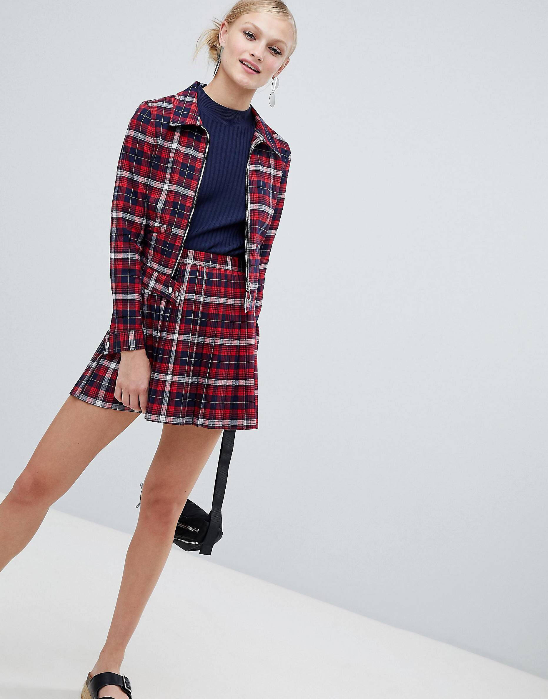 3b4e62733e Monki Check Pleated Mini Skirt Two-Piece in 2019 | Outfits | Pleated ...