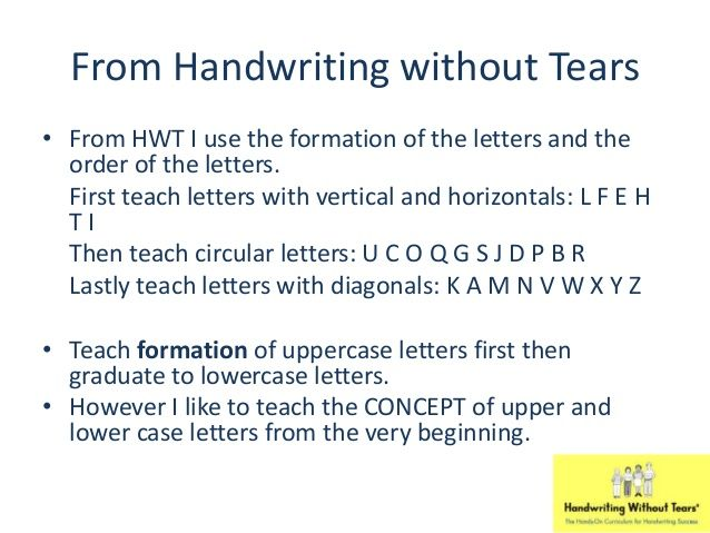 From Handwriting without Tears u2022 From HWT I use the formation of - order letter