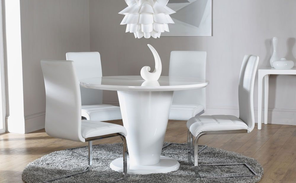Paris White High Gloss Round Dining Table And 4 Chairs Set