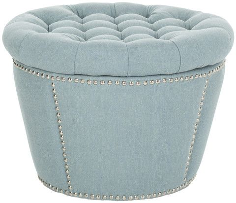 light blue ottoman. Andrew Sky Blue Tufted Round Storage Ottoman Light