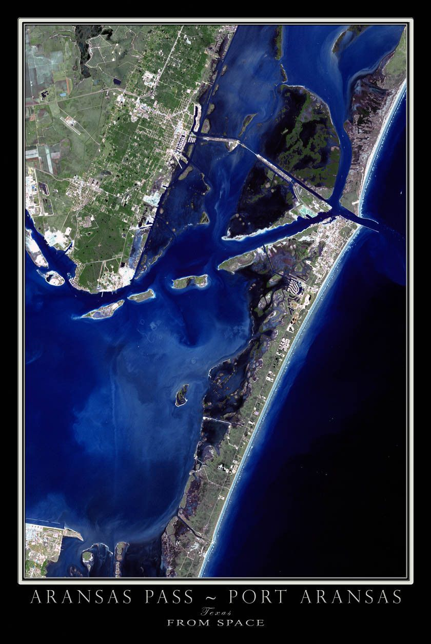 The Port Aransas Texas Satellite Poster Map Port Aransas Texas Port Aransas South America Travel
