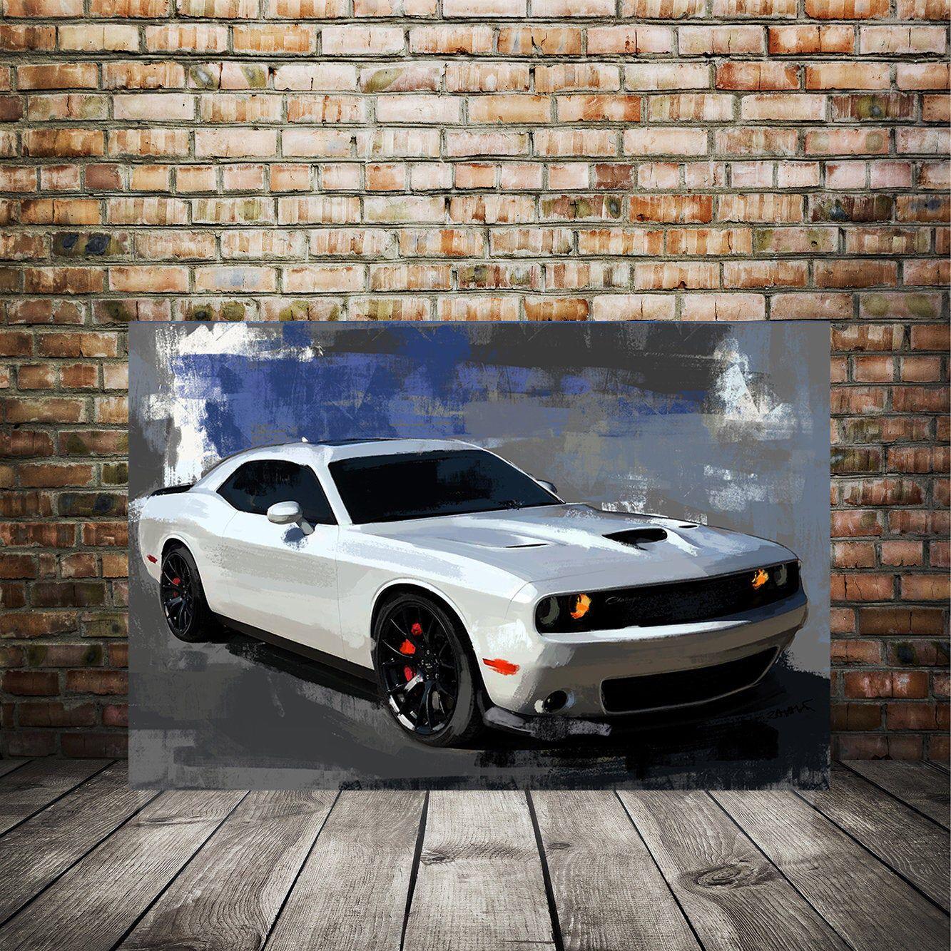 Dodge Challenger Rt Srt Canvas Painting Muscle Car Painting Etsy Car Painting Canvas Painting Unique Art Prints
