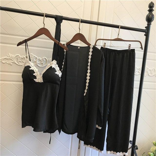 d155b6cbda Satin Pyjamas Women 3Pieces Pajamas for Women 2017 Pijama Elegant Sleepwear  Female Sexy Lace At All Seasons Silk Pajamas Set