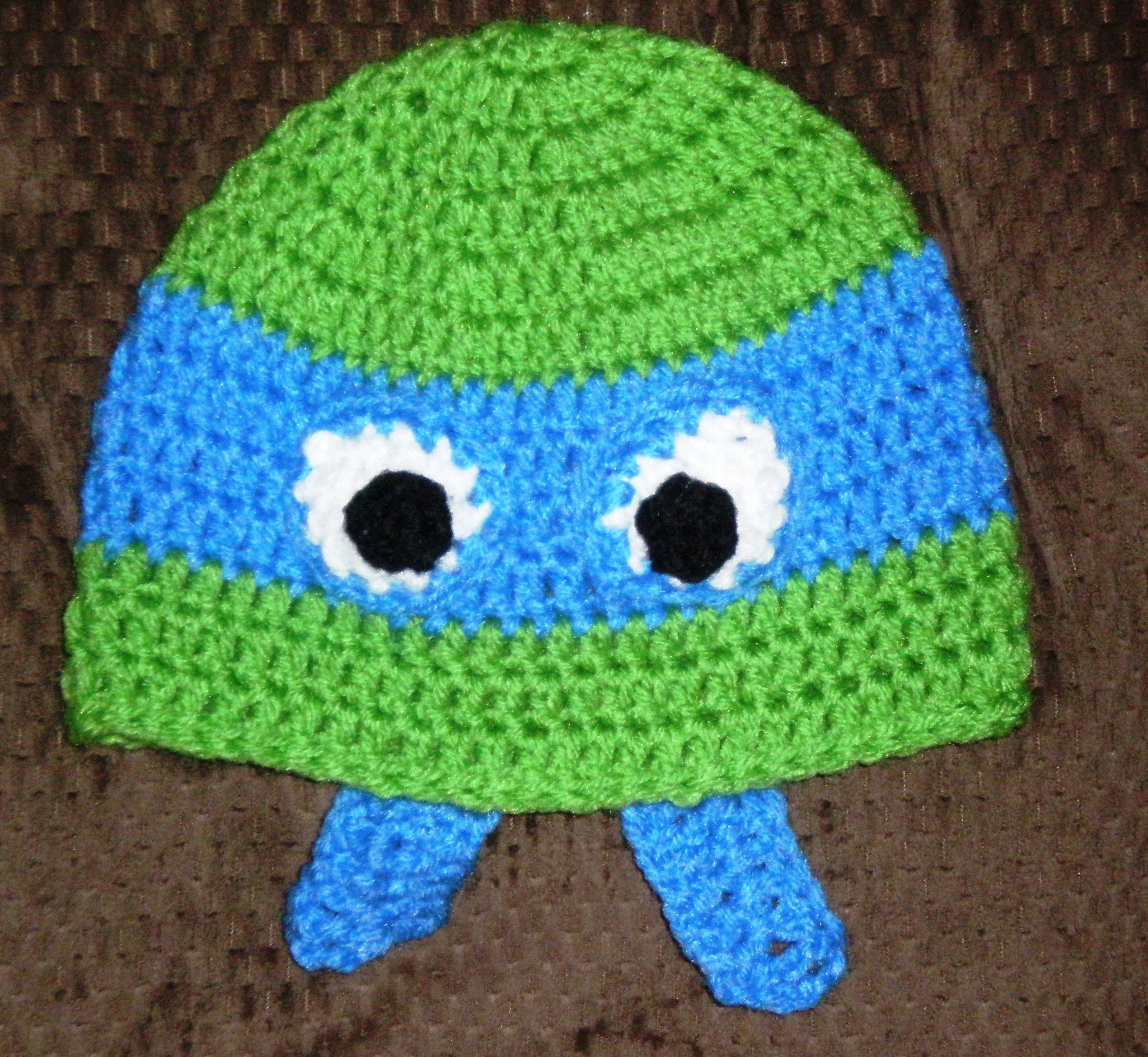 Crochet Project: Ninja Turtle Hat Sorry I don\'t have a pattern for ...