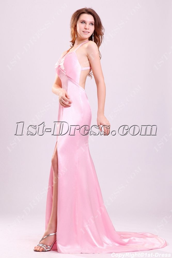 Pink Crossed Straps Formal Prom Dresses on Sale with Slit:1st-dress ...