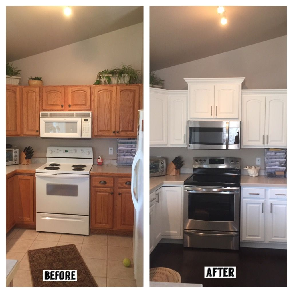 before and after kitchen: added crown molding, new taller