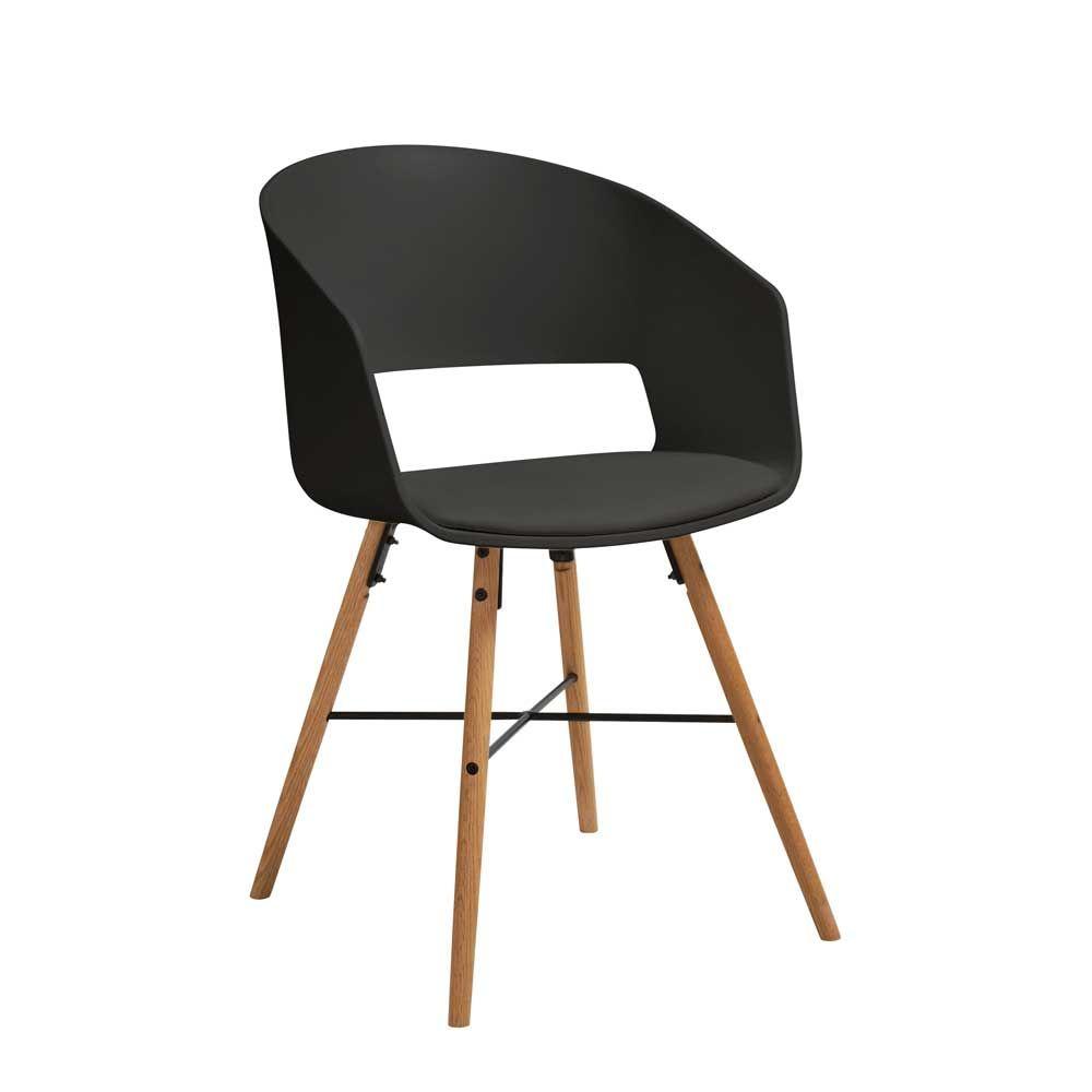 Design Esszimmerstuhl design esszimmerstuhl in schwarz kunststoff holzbeine massiv 2er