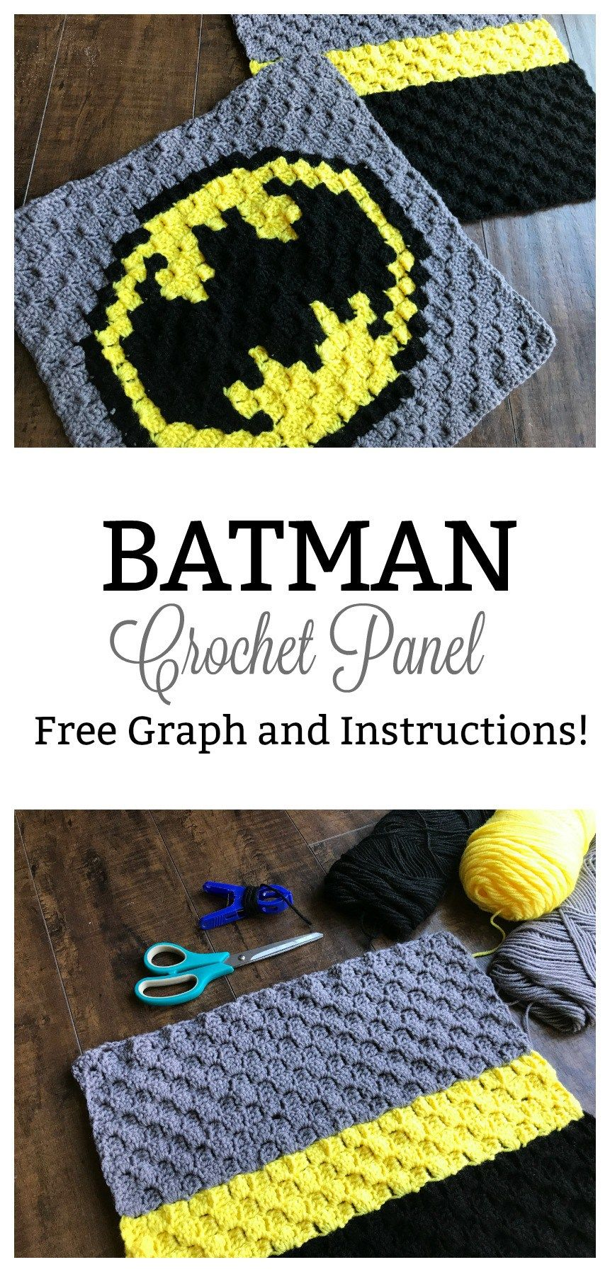 Incredible Batman Crochet Panel! This quick and easy C2C crochet ...