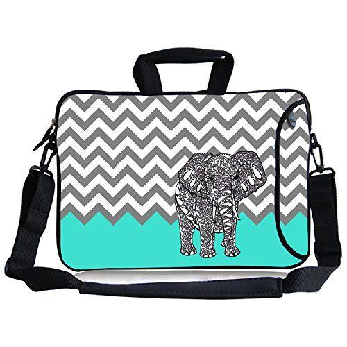 Kitrontm116122 Inches Turquoise Mint Green Chevron Elephant Neoprene Laptop Sleeve Case Bag Handbag Soft Carryin Shoulder Strap Bag Bags Neoprene Laptop Sleeve
