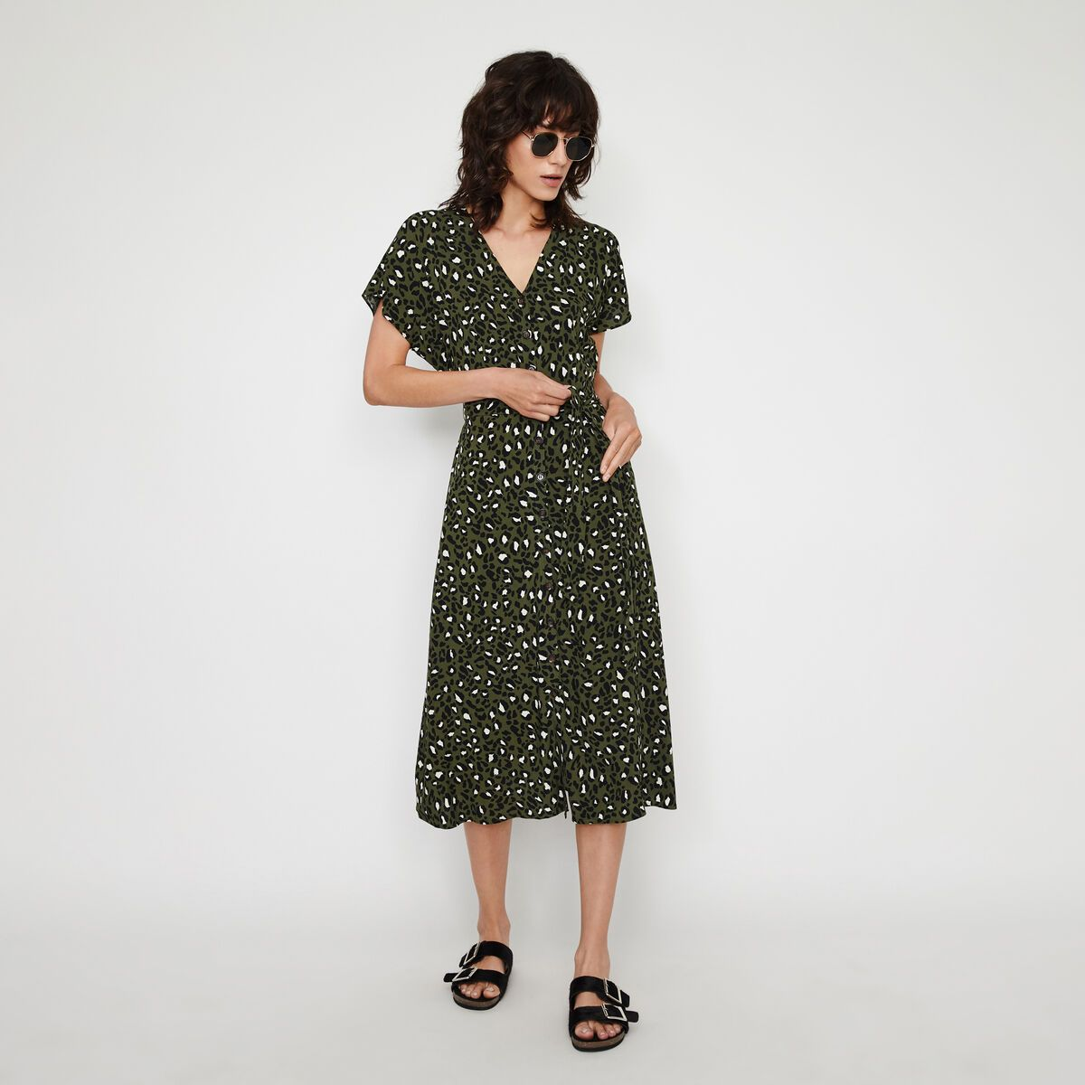 Warehouse Leopard Button Midi Dress Green Print 1 Floral Print Midi Dress Leopard Print Dress Dresses