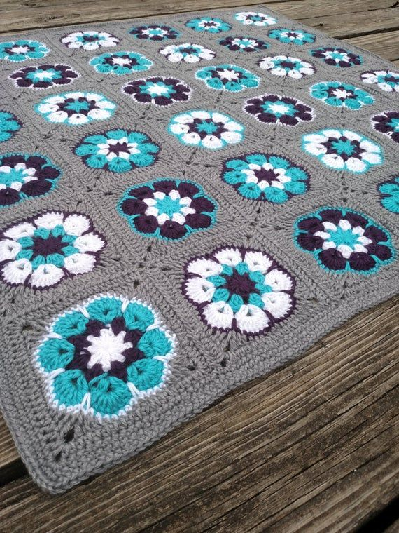 Crochet Baby Blanket - Crochet Baby Afghan in Purple, Aqua, and Grey African Flower Square Baby - Violet Nursery Decor