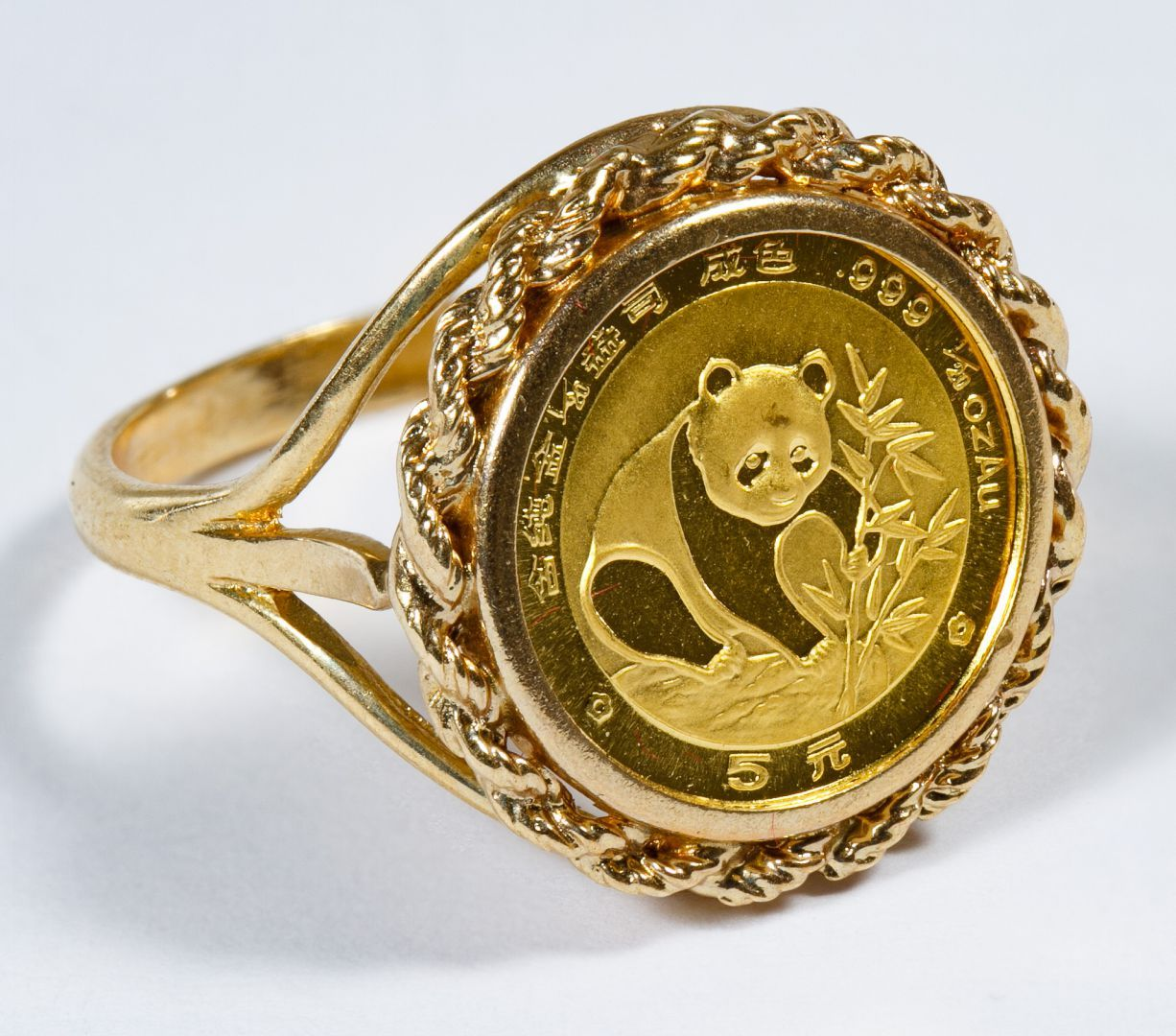 Lot 332 Chinese Gold Panda Coin Mounted In 14k Gold Ring 1 20 Oz Gold Coin In A Gold Setting Marked 999 Gold Coin Ring Buy Gold And Silver 14k Gold Ring