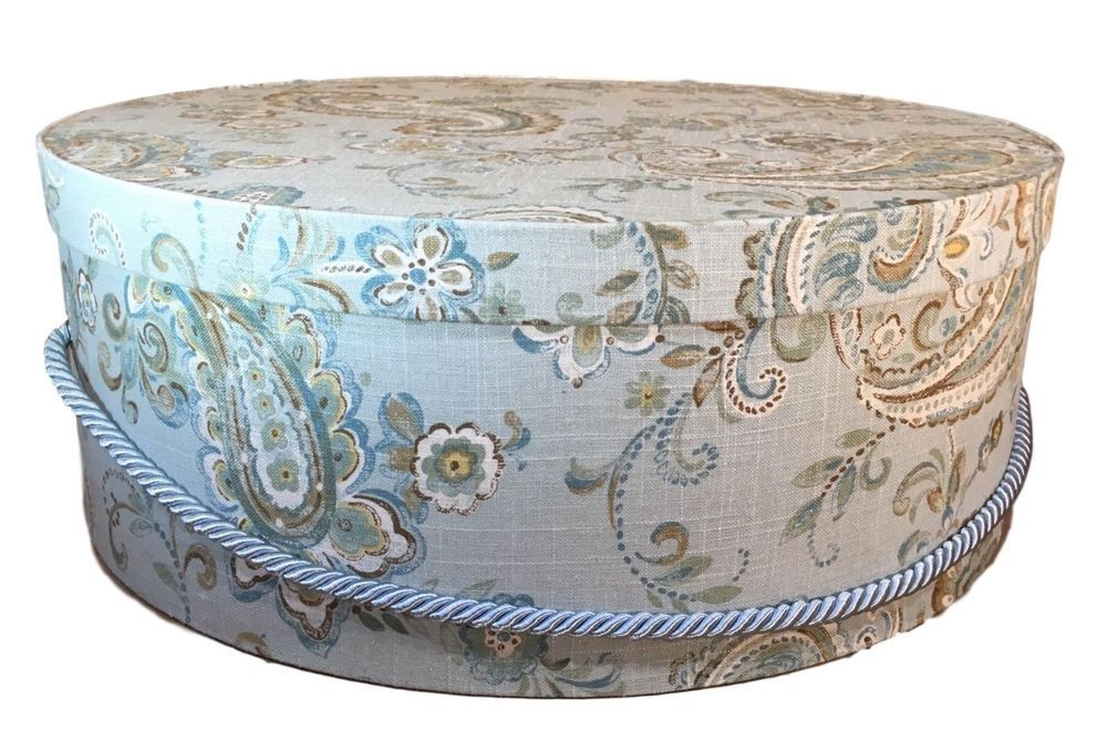 Extra Large Hat Box In Blue Fabric Hat Boxes Round Box Decorative 20 Theteaberrycottage Hat Boxes Large Hats Blue Fabric