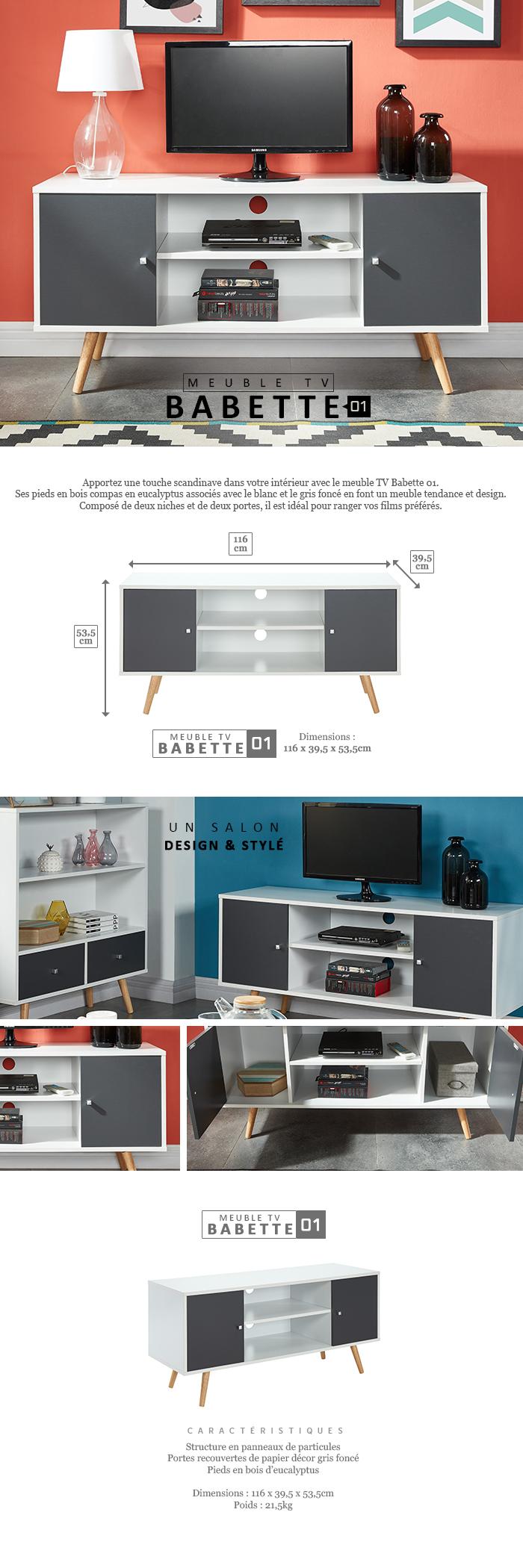 Babette Meuble Tv Scandinave Pieds En Eucalyptus Gris Fonc Et  # C Discount Meuble Tv