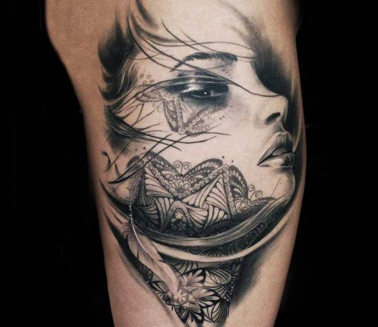 Woman Face Tattoo By Steffi Eff