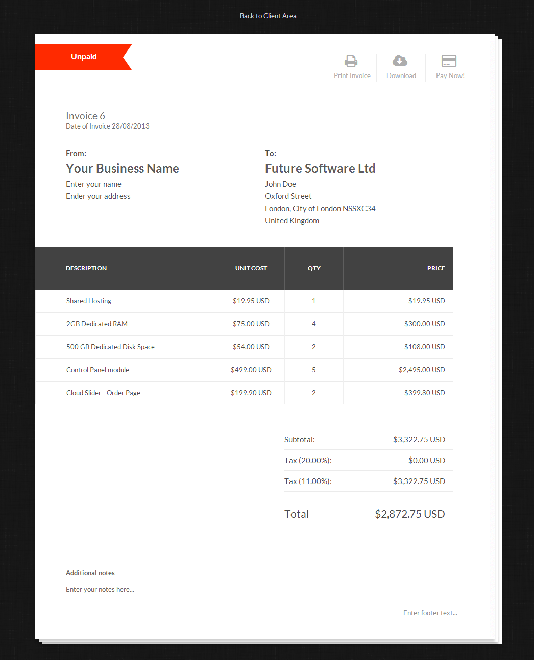 Invoice Templates Automated Billing HostBill Complete Client - Website invoice template