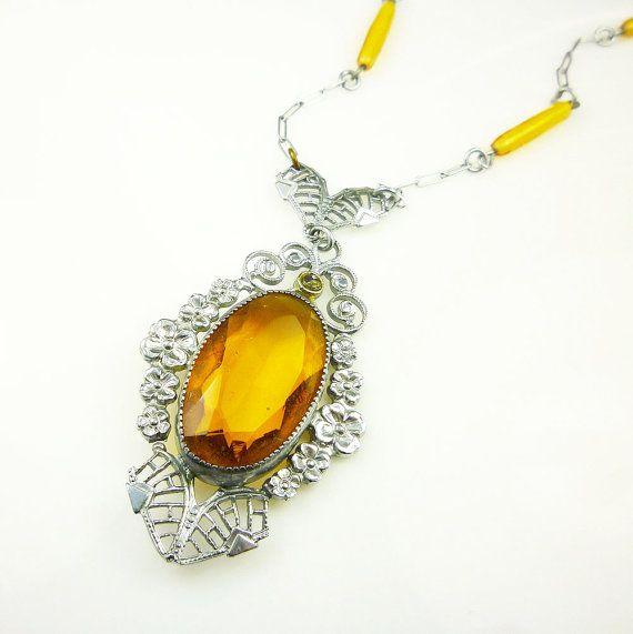 Art Deco Necklace Silver Filigree Amber Topaz by zephyrvintage, $95.00 #artdecojewelry   #artdeconecklace #silverfiligree #amber #topaz   #silverplated #pendantnecklace #greatgatsby   #flapperfashion