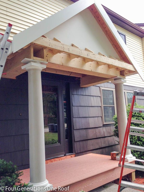Building A Portico The Roof Is Up Building A Porch Portico Design House With Porch