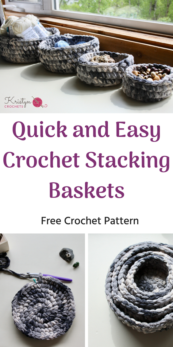 Quick and Easy Crochet Stacking Baskets | Crochet Patterns & Tutorials