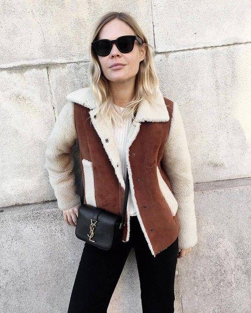 Jacket: tumblr brown shearling shearling shearling brown sweater ...