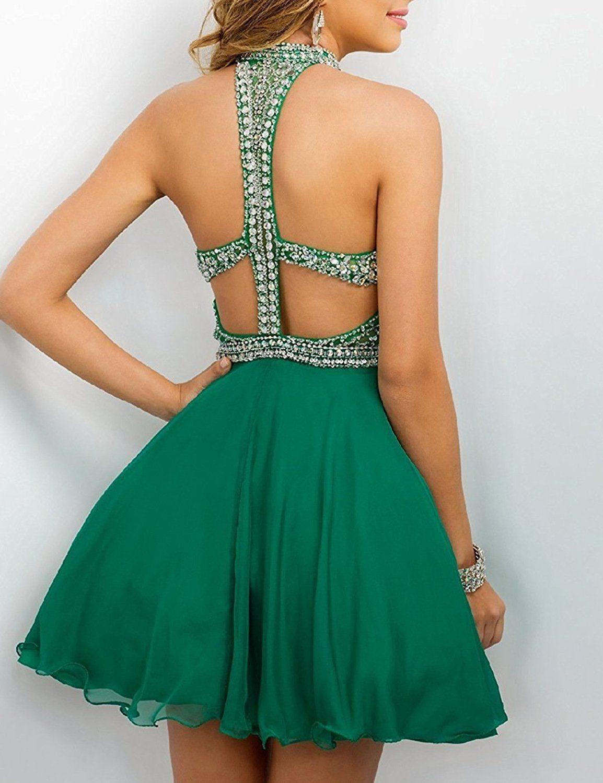93bf79587cd Lovingdress High Neck Chiffon Mini Beaded Bodice Homecoming Dresses at Amazon  Women s Clothing store