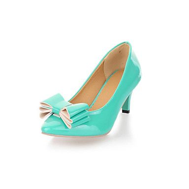 Patent Leather Kitten Heel With Bowknot Heels Casual Shoes For Women
